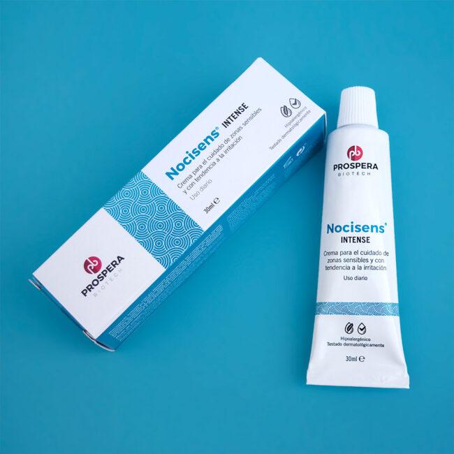 Caja y tubo de Nocisens Intense para pieles sensibles y atópicas